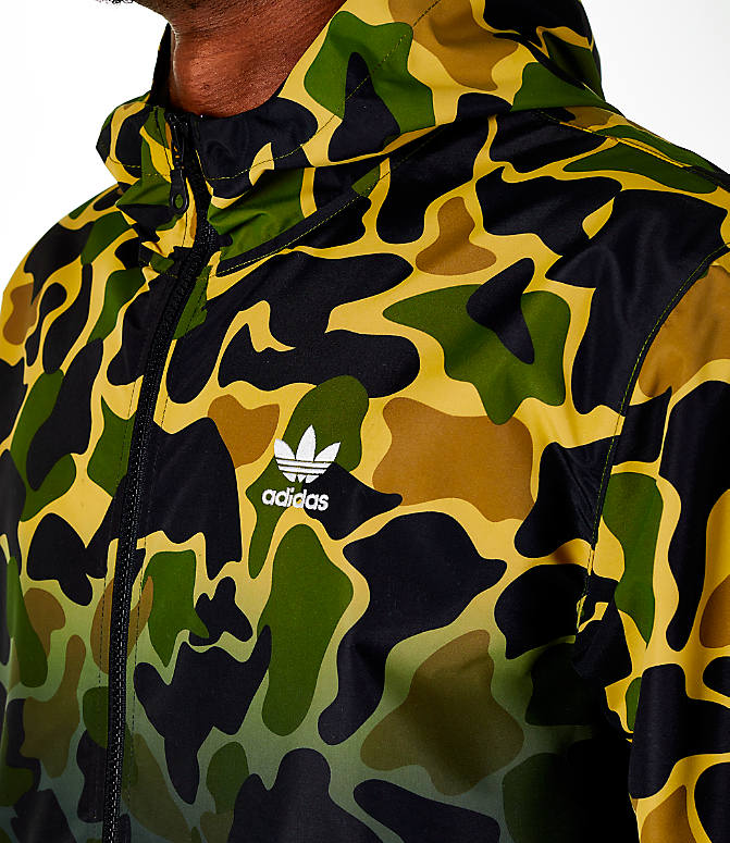 Detail 1 view of Men's adidas Originals Camouflage Windbreaker Jacket in Camo/Black