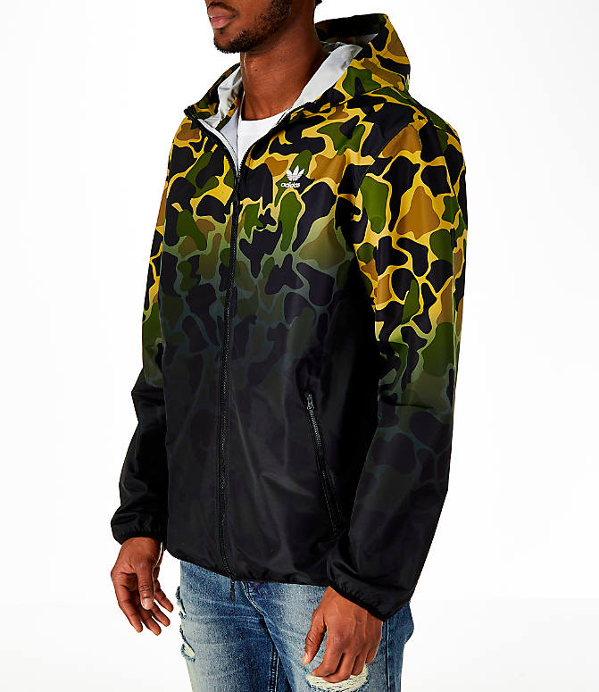 Front Three Quarter view of Men's adidas Originals Camouflage Windbreaker Jacket in Camo/Black