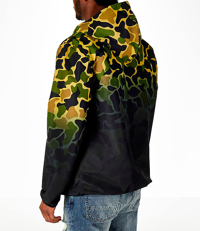 Back Left view of Men's adidas Originals Camouflage Windbreaker Jacket in Camo/Black