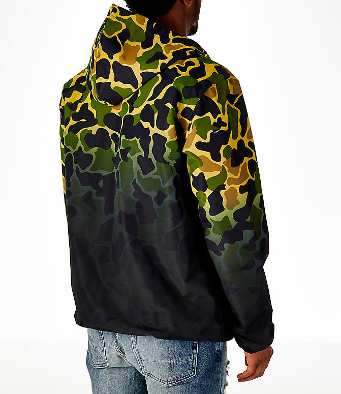Back Right view of Men's adidas Originals Camouflage Windbreaker Jacket in Camo/Black