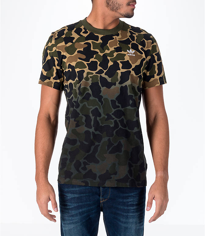 Front view of Men's adidas Originals Camouflage Fade T-Shirt in Camo/Black