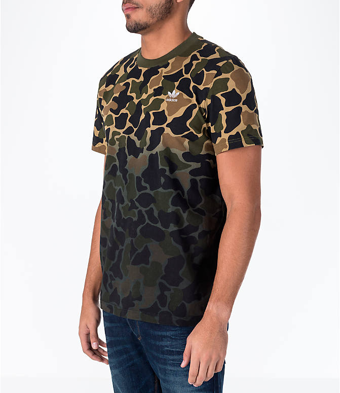 Front Three Quarter view of Men's adidas Originals Camouflage Fade T-Shirt in Camo/Black