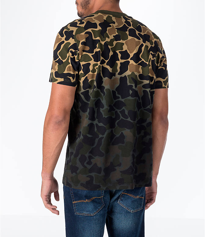 Back Left view of Men's adidas Originals Camouflage Fade T-Shirt in Camo/Black