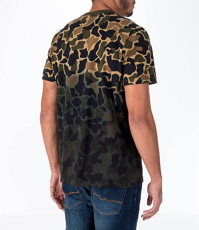 Back Right view of Men's adidas Originals Camouflage Fade T-Shirt in Camo/Black