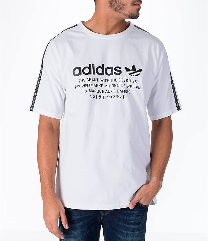 Front view of Men's adidas Originals NMD T-Shirt in White/Black