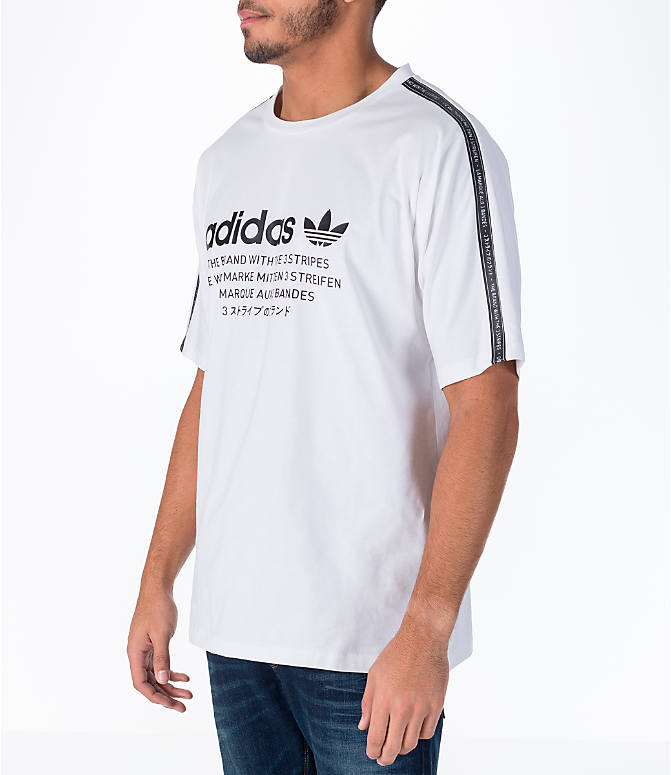Front Three Quarter view of Men's adidas Originals NMD T-Shirt in White/Black