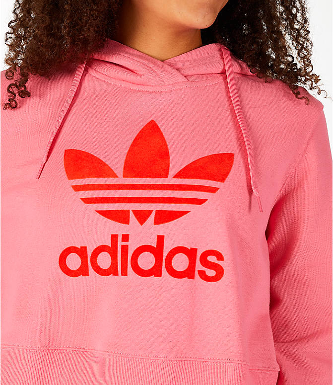 Detail 1 view of Women's adidas Originals CLRDO Cropped Hoodie in Pink