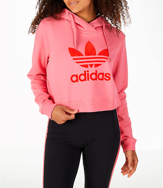 Front view of Women's adidas Originals CLRDO Cropped Hoodie in Pink