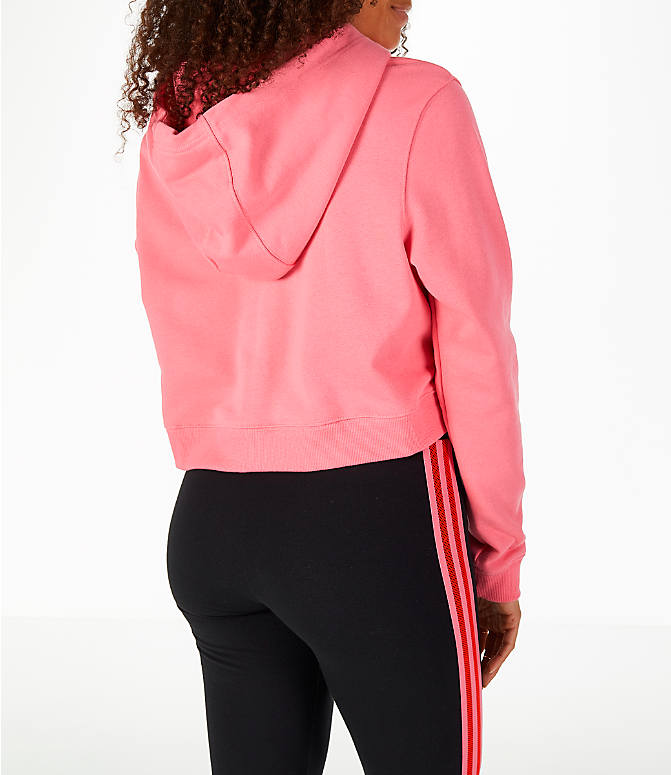 Back Right view of Women's adidas Originals CLRDO Cropped Hoodie in Pink