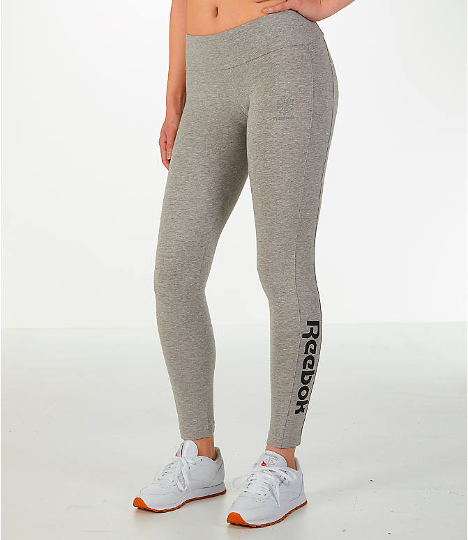 Front view of Women's Reebok Classics Franchise Leggings in Grey/Black