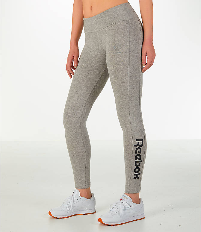 Front Three Quarter view of Women's Reebok Classics Franchise Leggings in Grey/Black