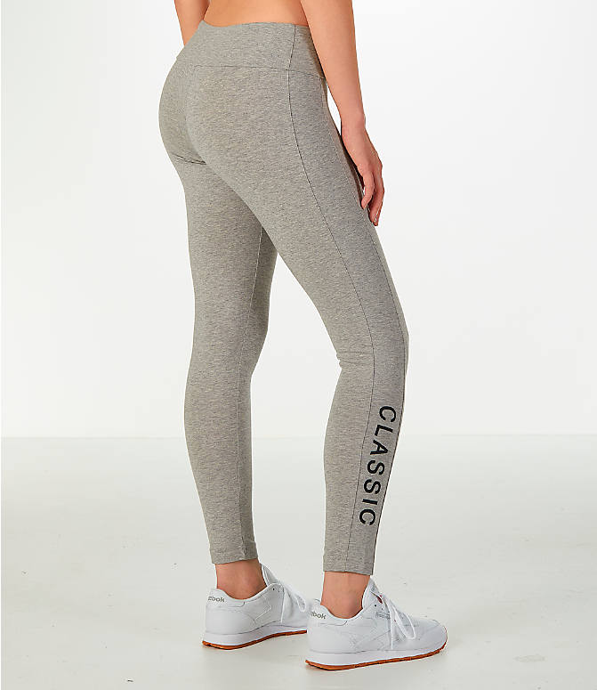 Back Right view of Women's Reebok Classics Franchise Leggings in Grey/Black