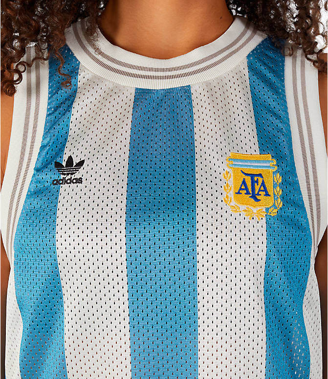 Detail 1 view of Women's adidas Originals Argentina Tank Dress in Blue/White/Multi