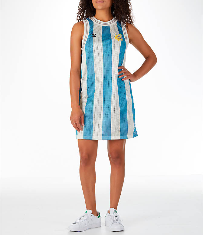 Front view of Women's adidas Originals Argentina Tank Dress in Blue/White/Multi