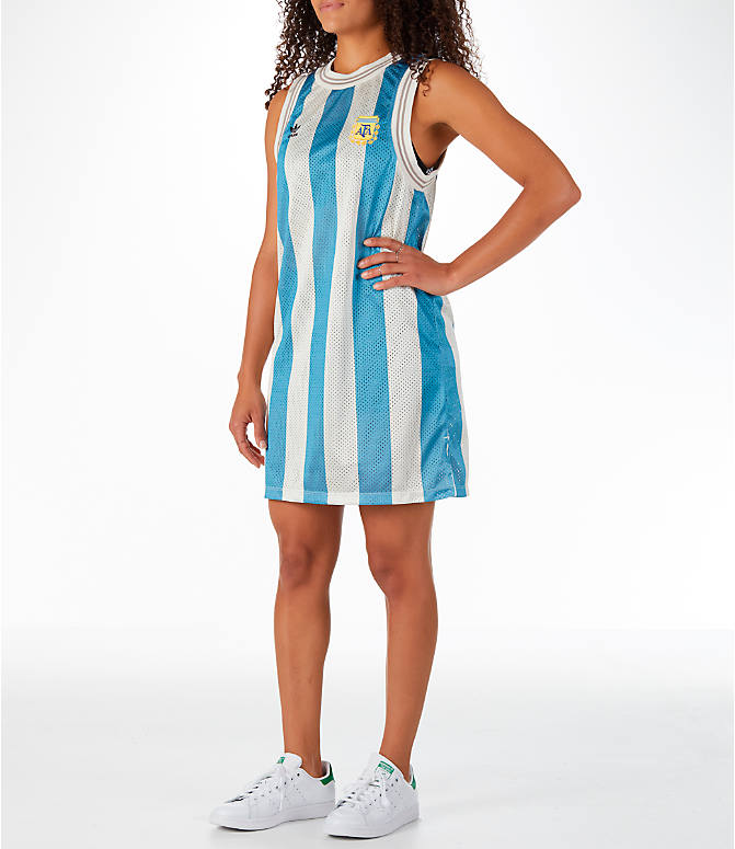 Front Three Quarter view of Women's adidas Originals Argentina Tank Dress in Blue/White/Multi