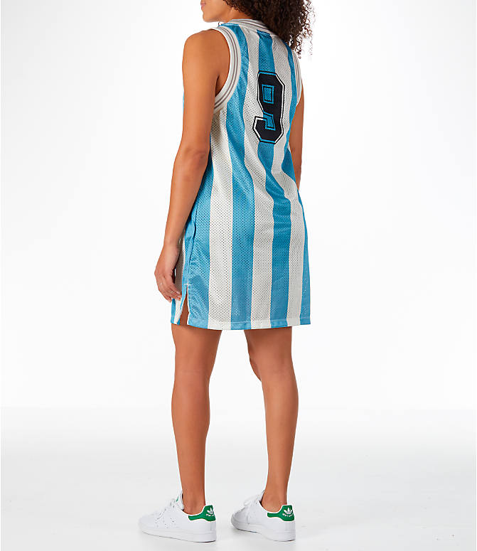 Back Left view of Women's adidas Originals Argentina Tank Dress in Blue/White/Multi
