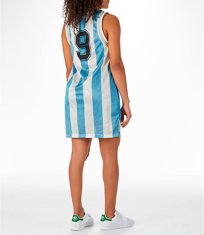 Back Right view of Women's adidas Originals Argentina Tank Dress in Blue/White/Multi