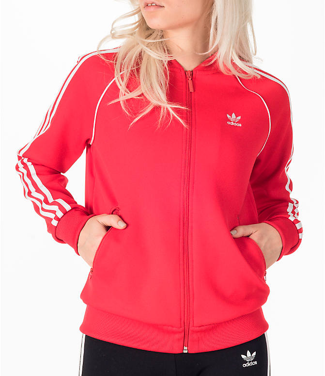 Detail 1 view of Women's adidas Originals Superstar Track Jacket in Red/White