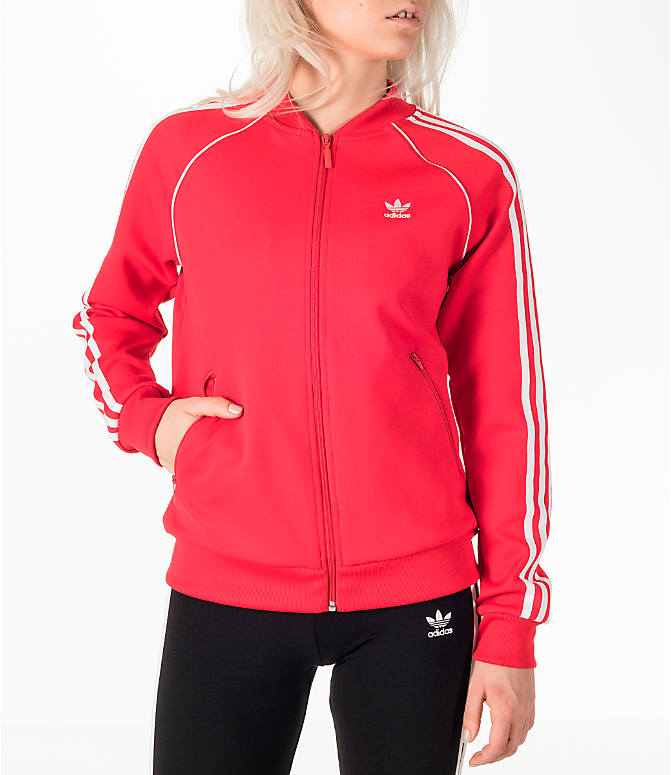 Front view of Women's adidas Originals Superstar Track Jacket in Red/White