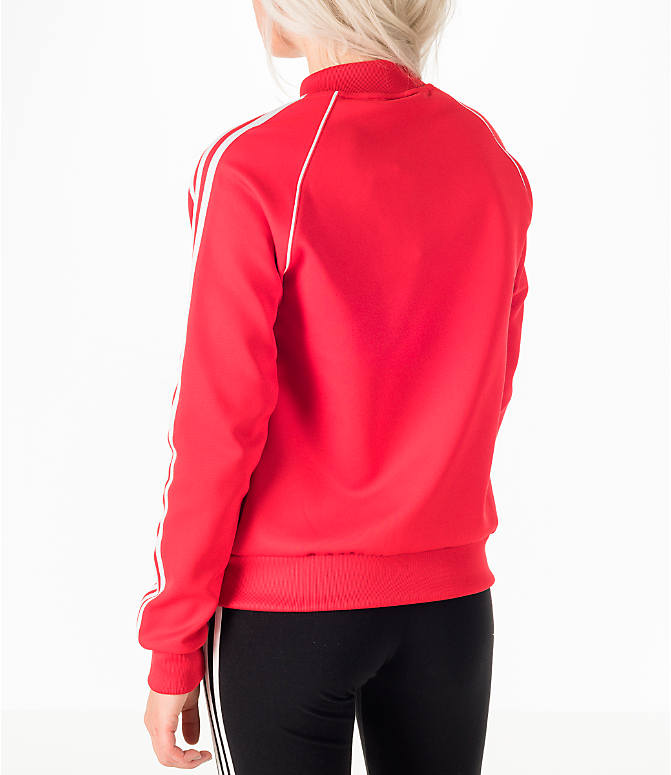 Back Left view of Women's adidas Originals Superstar Track Jacket in Red/White