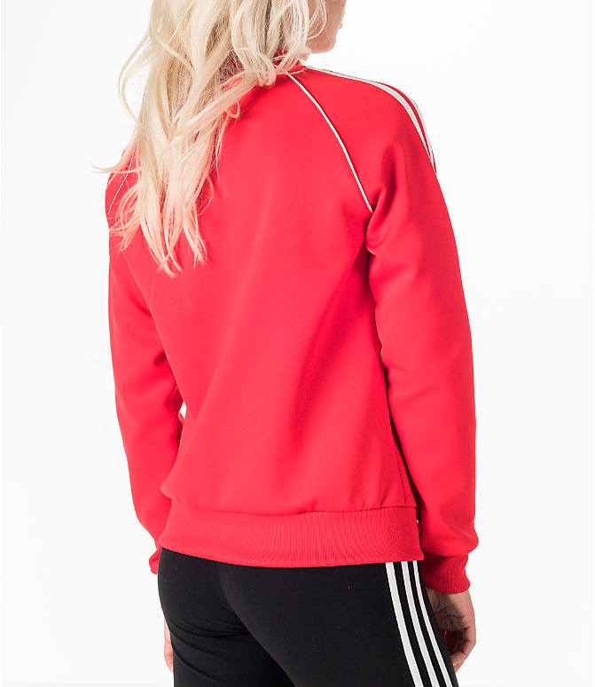 Back Right view of Women's adidas Originals Superstar Track Jacket in Red/White