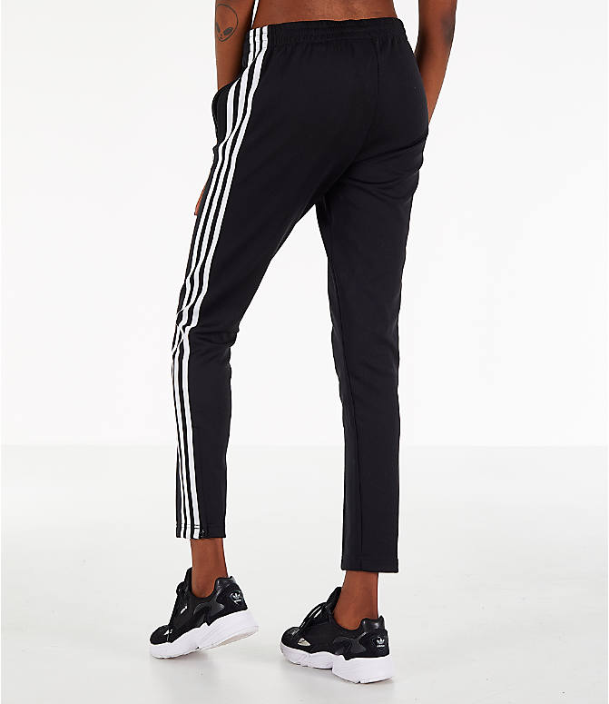 Back Left view of Women's adidas Originals Superstar Track Pants in Black
