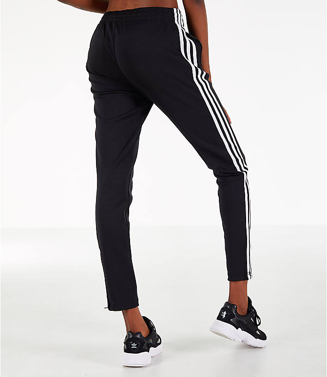 Back Right view of Women's adidas Originals Superstar Track Pants in Black