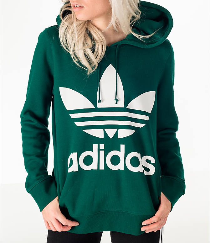 Detail 1 view of Women's adidas Originals Trefoil Hoodie in Green/White