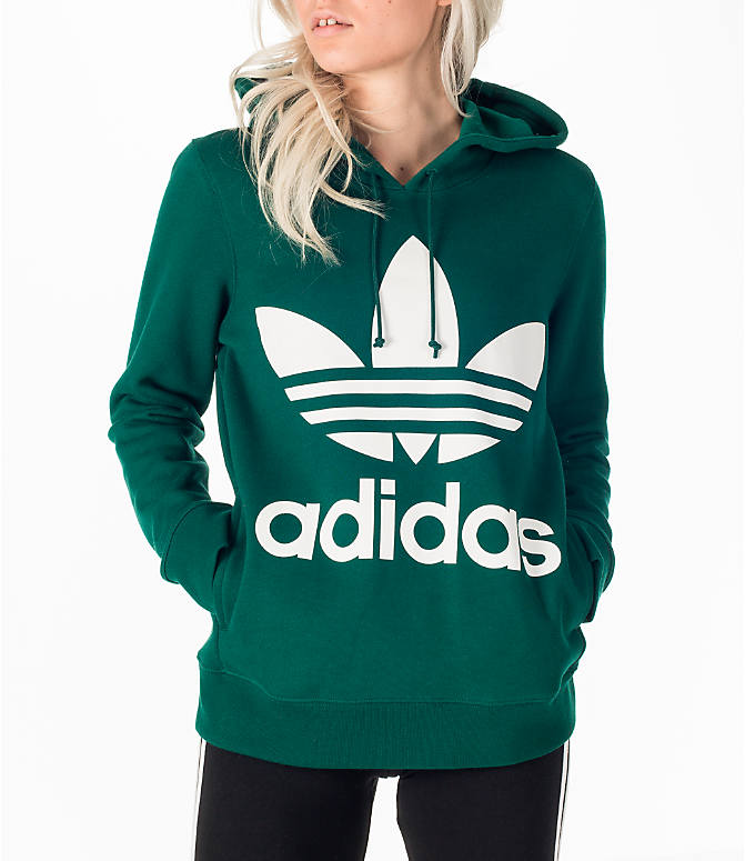 Front view of Women's adidas Originals Trefoil Hoodie in Green/White