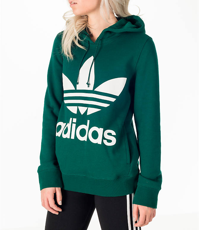 Front Three Quarter view of Women's adidas Originals Trefoil Hoodie in Green/White