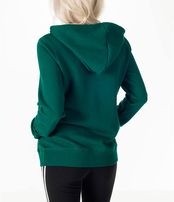 Back Left view of Women's adidas Originals Trefoil Hoodie in Green/White