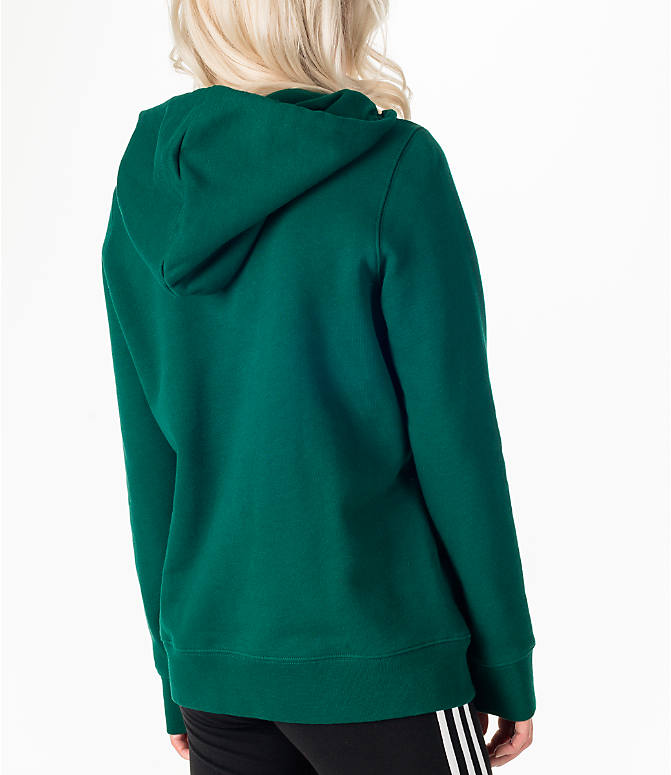 Back Right view of Women's adidas Originals Trefoil Hoodie in Green/White