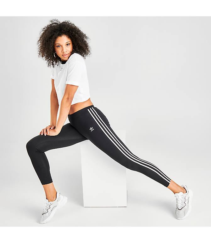 Front view of Women s adidas Originals Trefoil 3-Stripes Leggings in  Black White d80cc70d7b56