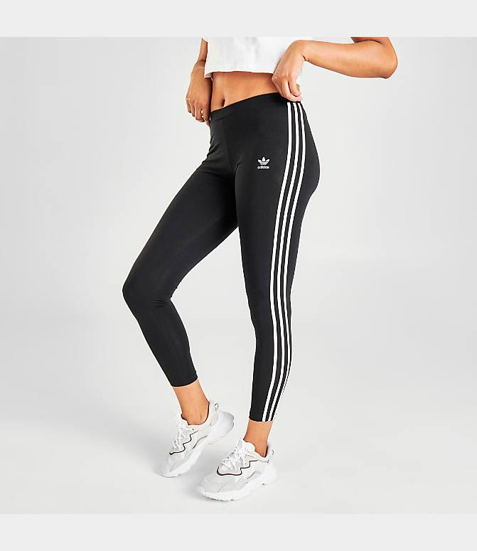 Details about New Women's Adidas Originals 3 Stripes Leggings (CE2441) Black White