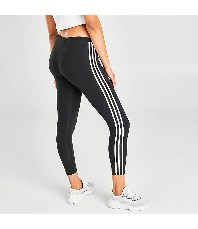 dd1df17fd85130 Back Right view of Women's adidas Originals Trefoil 3-Stripes Leggings in  Black/White