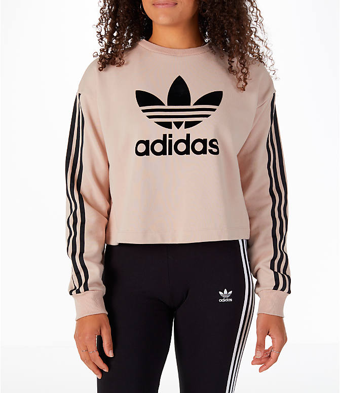 Front view of Women's adidas Originals Fashion League Sweatshirt in Pearl Pink