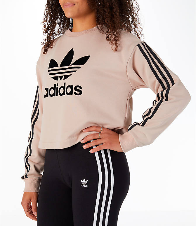 Front Three Quarter view of Women's adidas Originals Fashion League Sweatshirt in Pearl Pink
