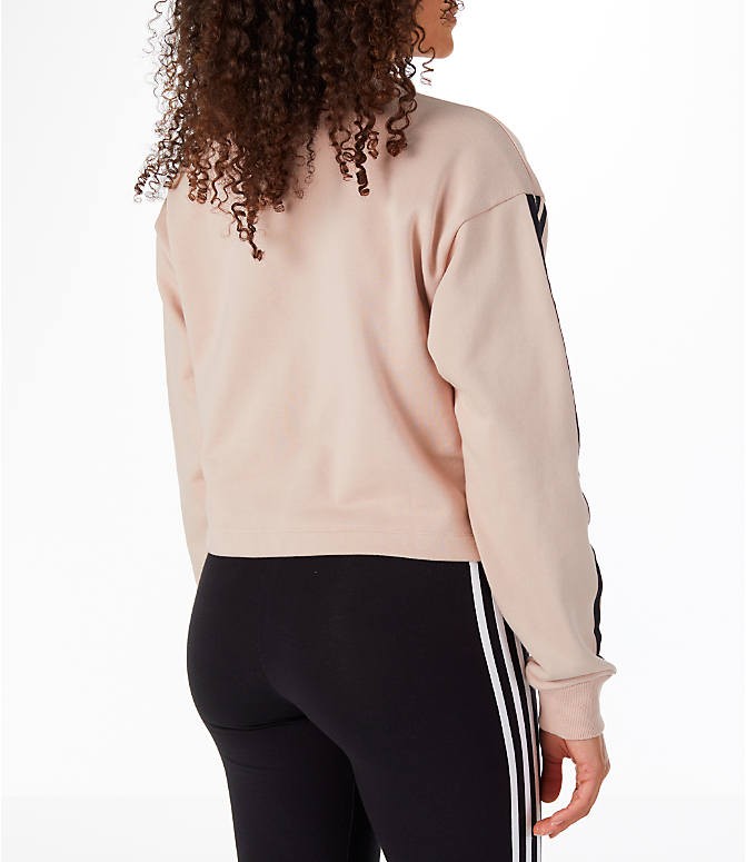 Back Right view of Women's adidas Originals Fashion League Sweatshirt in Pearl Pink