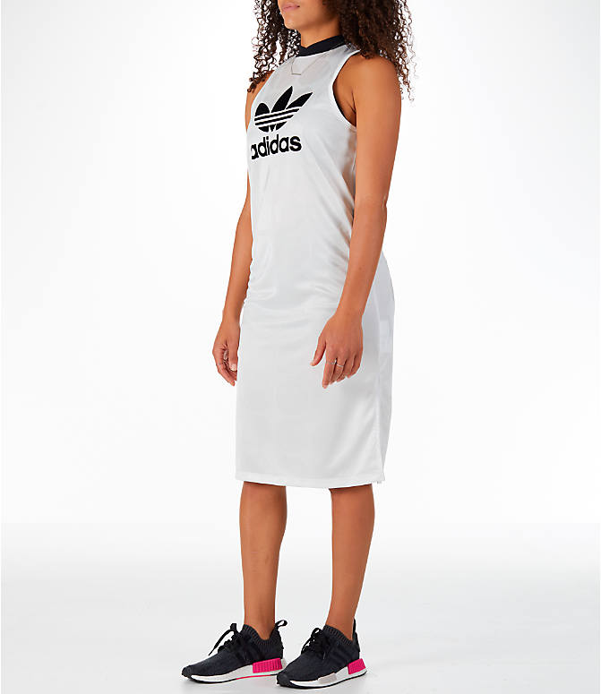 Front Three Quarter view of Women's adidas Originals Fashion League Tank Dress in Vintage White