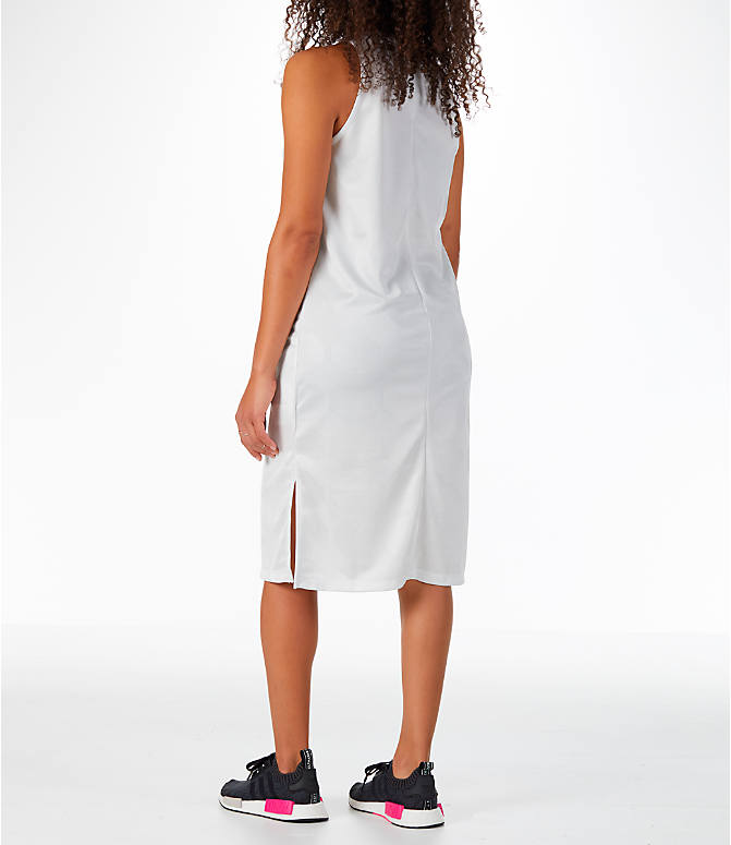 Back Left view of Women's adidas Originals Fashion League Tank Dress in Vintage White