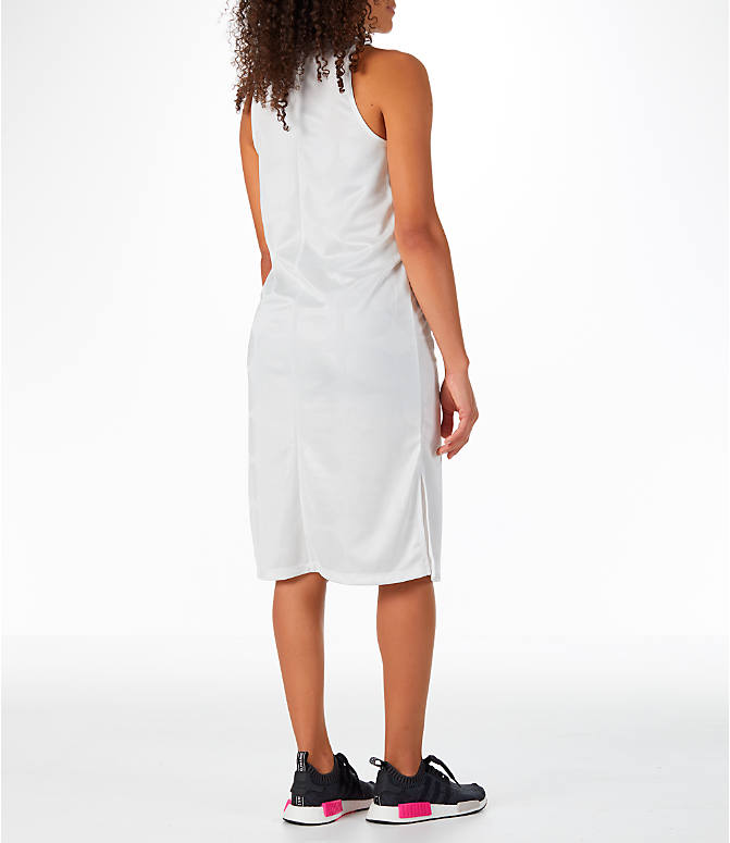 Back Right view of Women's adidas Originals Fashion League Tank Dress in Vintage White