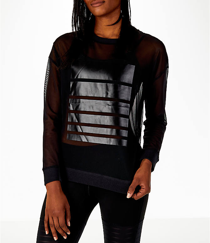Front view of Women's Reebok Dance Mesh Long Sleeve Shirt in Black/Mesh