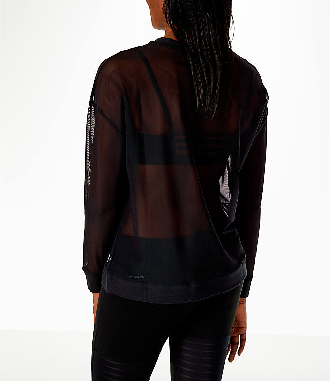 Back Left view of Women's Reebok Dance Mesh Long Sleeve Shirt in Black/Mesh
