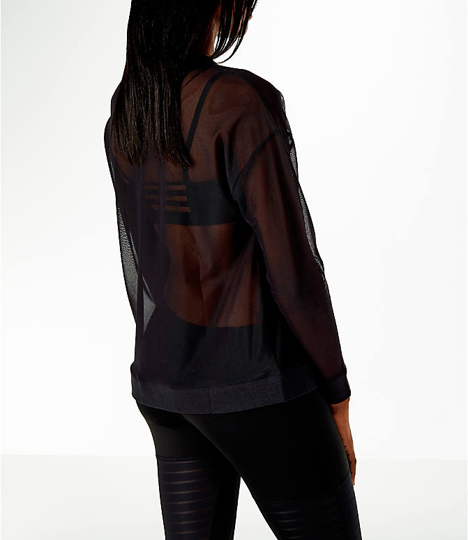 Back Right view of Women's Reebok Dance Mesh Long Sleeve Shirt in Black/Mesh