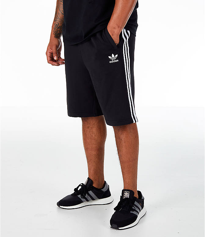 Front view of Men's adidas Originals 3-Stripe Shorts in Black/White