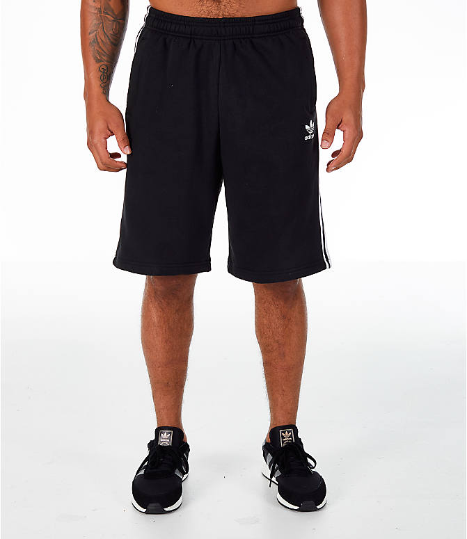 Front Three Quarter view of Men's adidas Originals 3-Stripe Shorts in Black/White