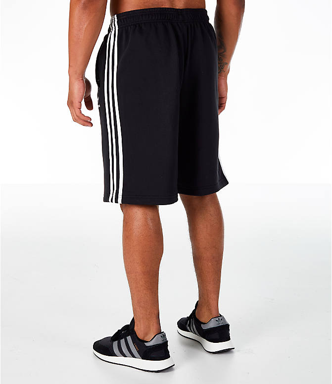 Back Left view of Men's adidas Originals 3-Stripe Shorts in Black/White