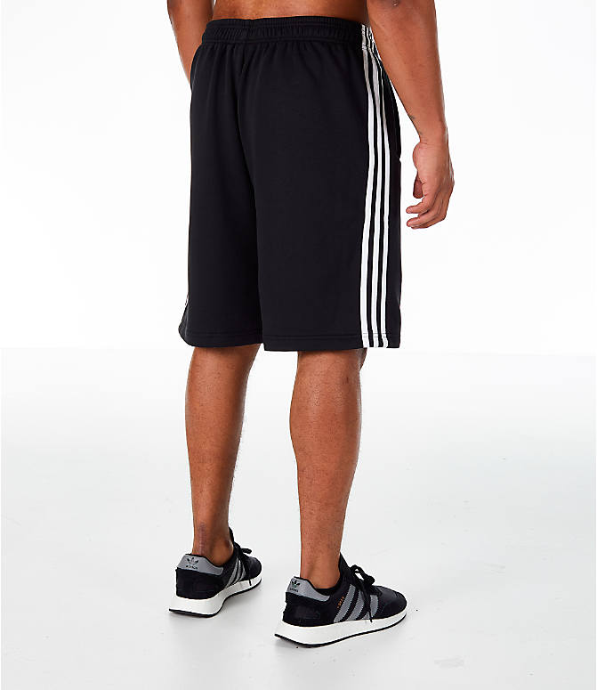 Back Right view of Men's adidas Originals 3-Stripe Shorts in Black/White