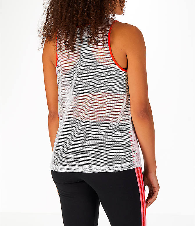 Back Right view of Women's adidas Originals Colorado Mesh Tank in White/Orange