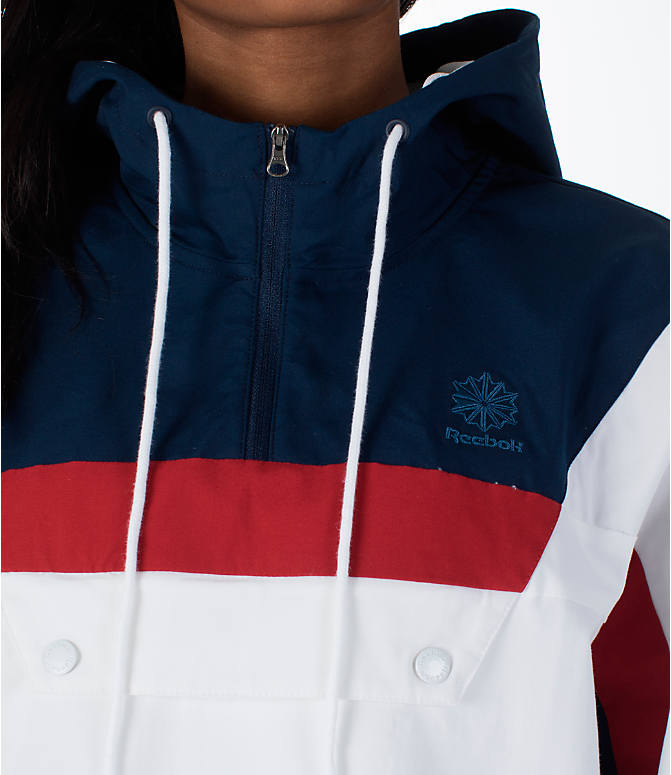 Detail 1 view of Women's Reebok Classics Cotton Anorak Sweatshirt in White/Navy/Red